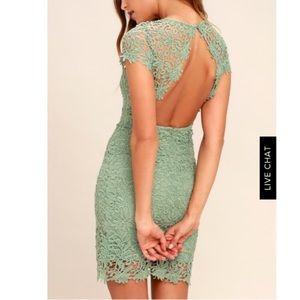 Sage green backless dress